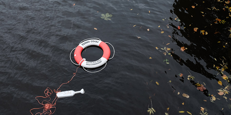 A life ring in a lake