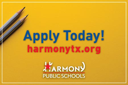 Apply Today! harmonytx.org (yellow background)