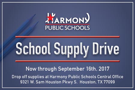 School Supply Drive | Now through September 15th, 2017